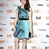Anna Kendrick in a blue dress.