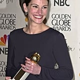 Julia showed her megawatt smile after winning a Golden Globe in 2001.