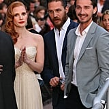 Jessica Chastain, Tom Hardy and Shia LaBeof hung out together at the Cannes Film Festival.