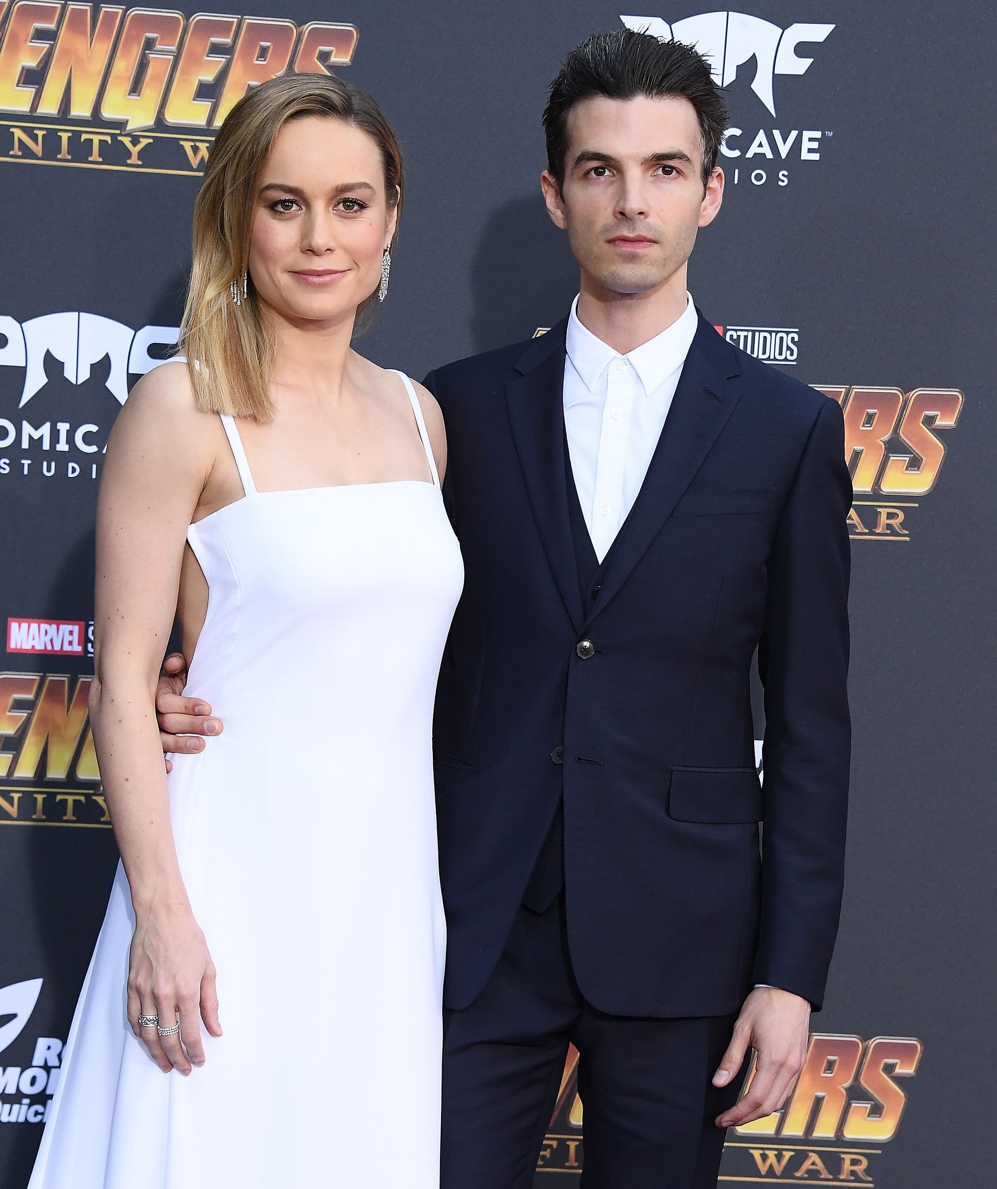 LOS ANGELES, CA - APRIL 23:  Brie Larson, Alex Greenwald arrives at the Premiere Of Disney And Marvel's