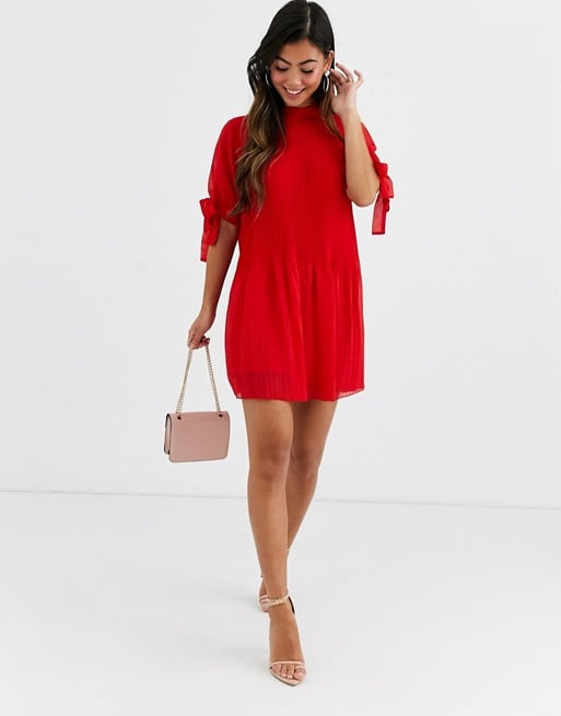ASOS Design Pleated Trapeze Mini Dress