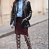 From head to toe, this outfit doesn't skimp on statement-making leather accents.