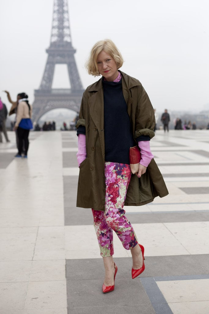You really can't go wrong with a pair of pink and purple floral pants — and the picturesque Eiffel Tower backdrop doesn't hurt either.