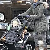 Naomi Watts Pushes Sasha and Samuel Through the Snow