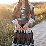 Gal Meets Glam Collection Dakota Mixed Print Long Sleeve Fit & Flare Dress