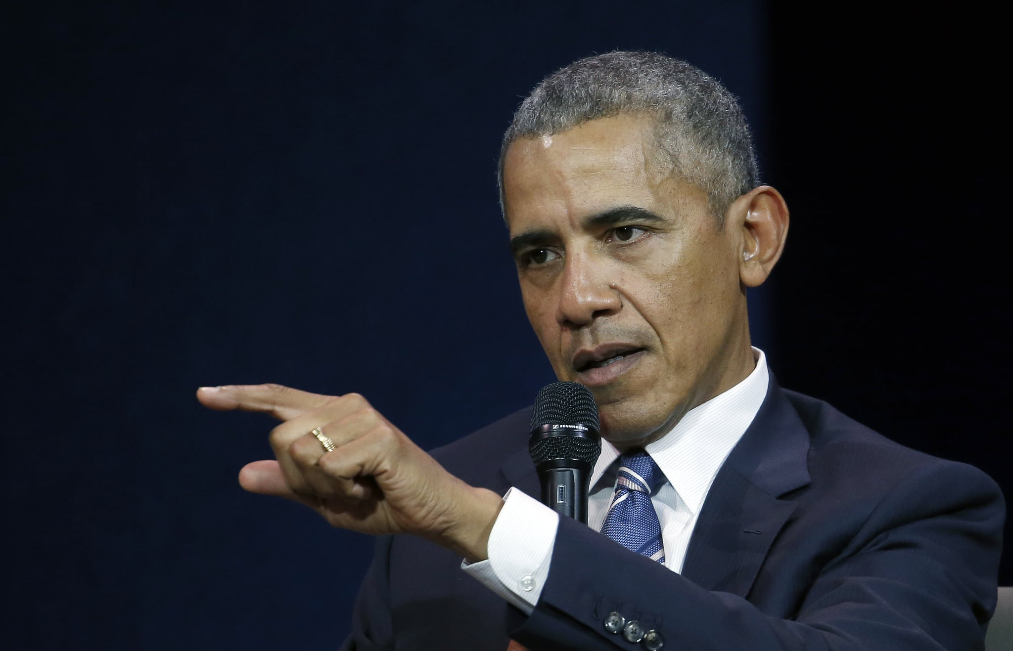 PARIS, FRANCE - DECEMBER 02:  Former US President Barack Obama delivers a speech during the 7th summit of