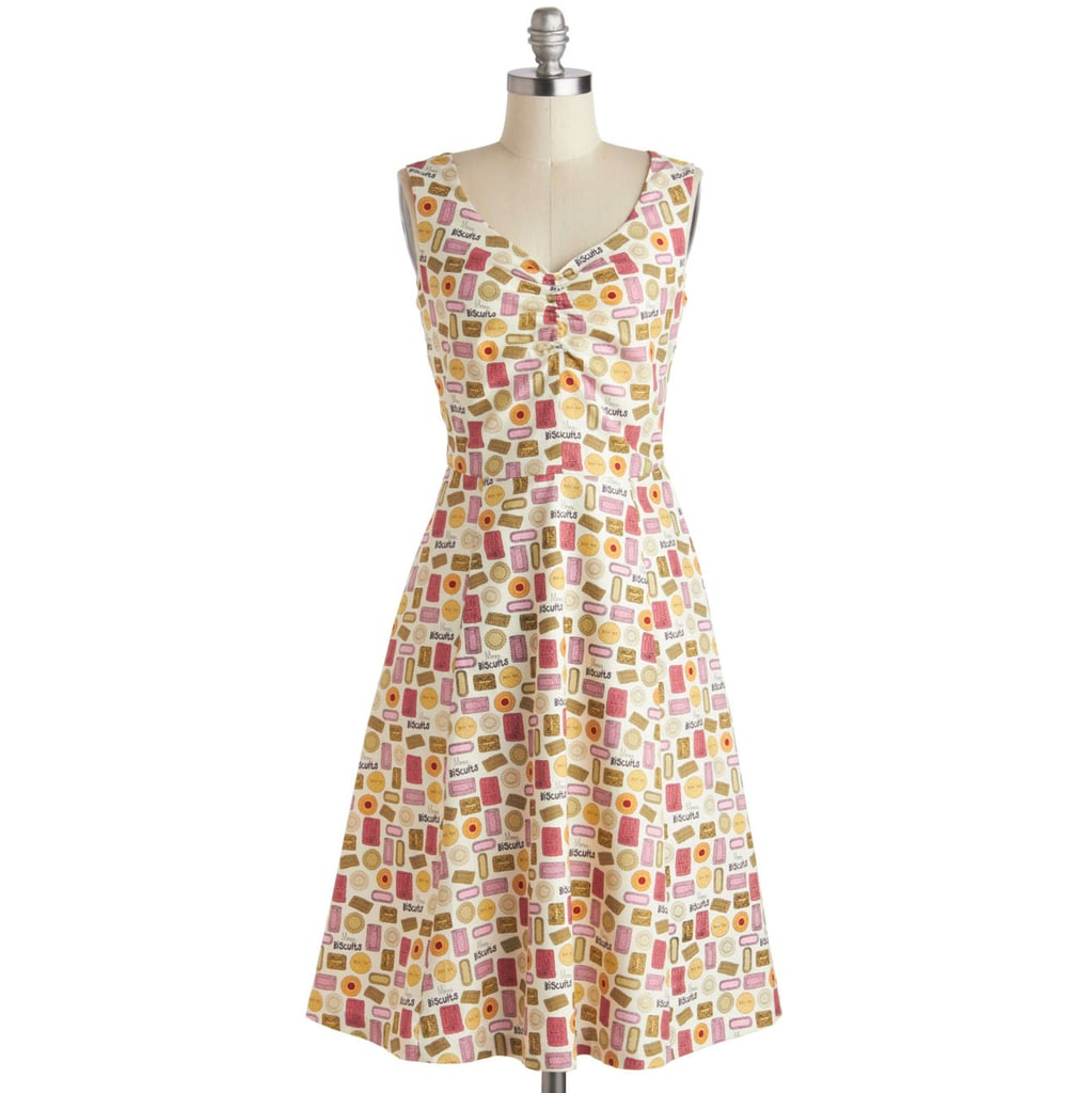 If you want to approach today's theme more subtly, then consider this ModCloth dress ($83), whose cookie print reads more graphic at first glance.