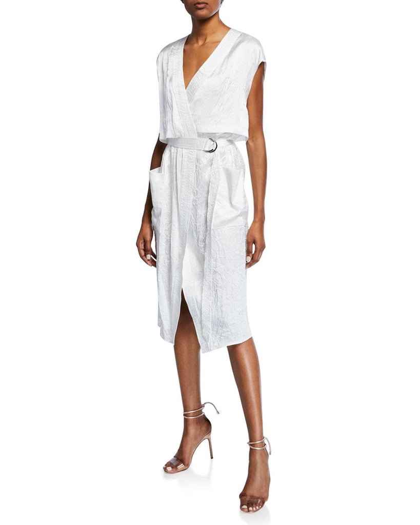 Sally LaPointe Sleeveless Crinkled Trench Dress