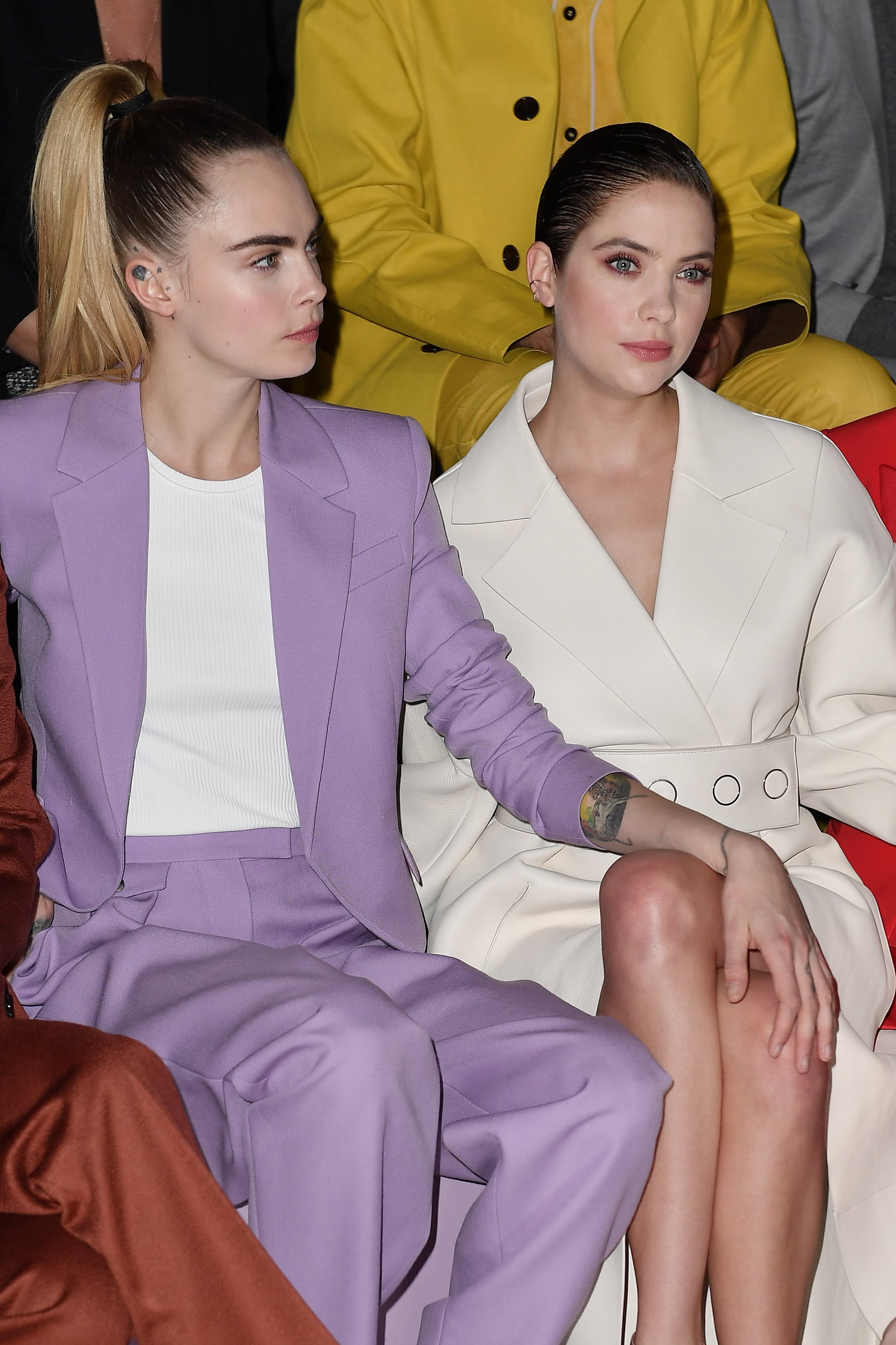 MILAN, ITALY - FEBRUARY 23:  Cara Delevingne and Ashley Benson attends the Boss fashion show on February 23, 2020 in Milan, Italy. (Photo by Jacopo Raule/WireImage)