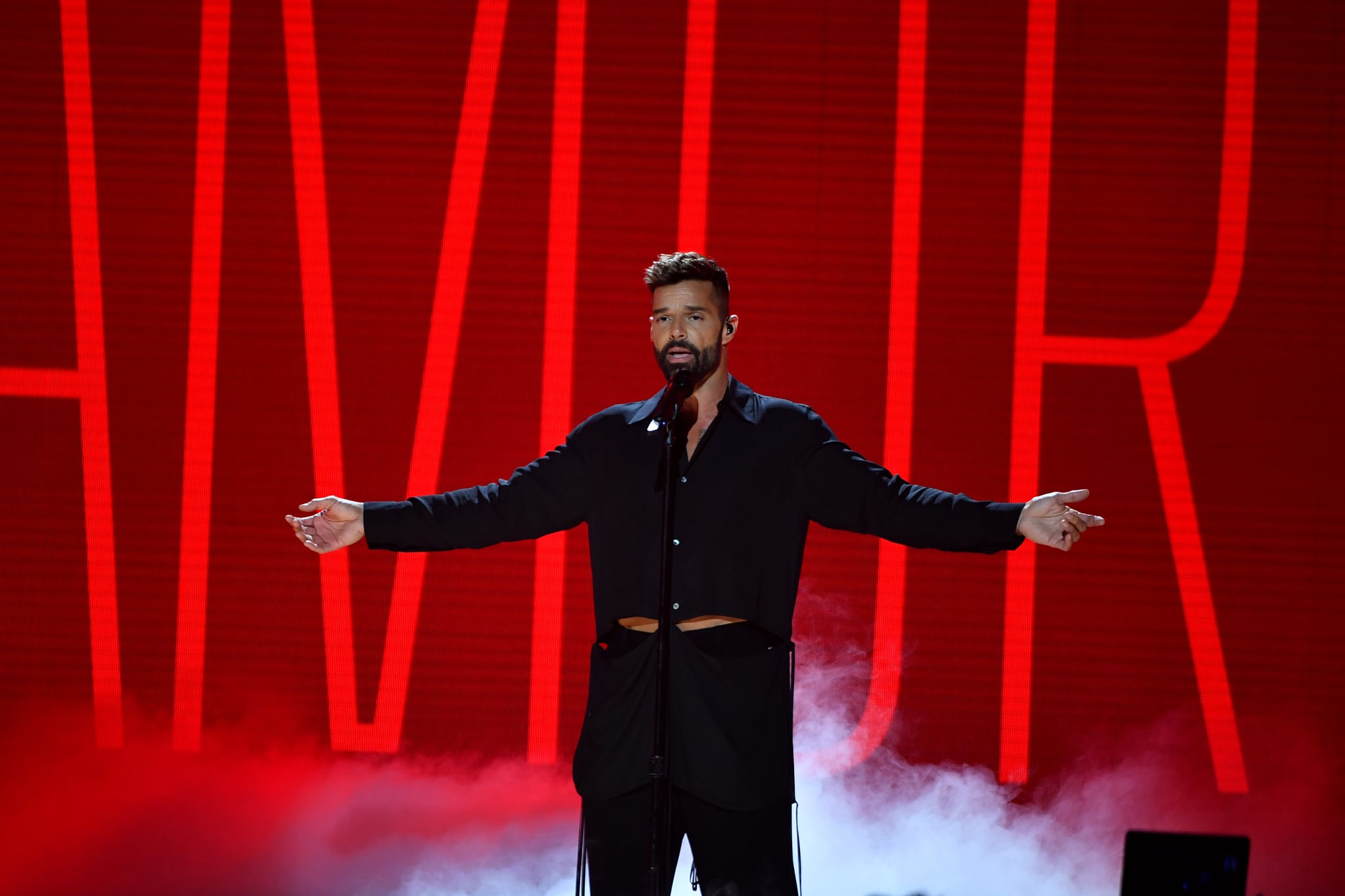 MIAMI, FLORIDA - FEBRUARY 20: Ricky Martin performs live on stage at Univision's Premio Lo Nuestro 2020 at AmericanAirlines Arena on February 20, 2020 in Miami, Florida. (Photo by Jason Koerner/Getty Images)