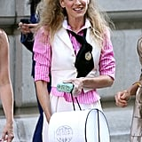 Carrie wasn't shy with the teasing comb to create this oversize (but incredibly chic) half-up 'do for the film.