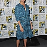 Attending the Warner Bros. The Man from U.N.C.L.E. presentation at the San Diego Comic-Con, Alicia wore a Proenza Schouler dress with strappy sandals.