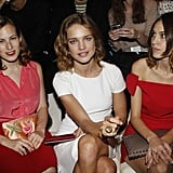 Alexa Chung front row at Paris Fashion Week.