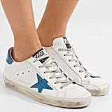 Golden Goose Deluxe Brand Super Star Distressed Croc Effect-Paneled Leather Sneakers in White