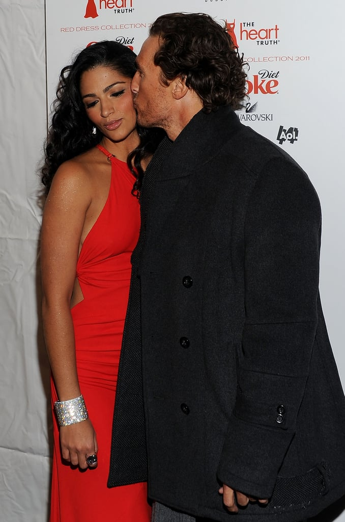 Matthew kissed Camila on the red carpet at the Heart Truth's Red Dress Collection during NY Fashion Week in February 2011.