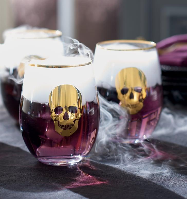 Best 2019 Halloween Decor At Grandin Road: Gold Skull Stemless Wine Glasses