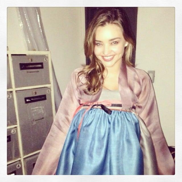 Miranda Kerr modeled her new Korean hanbok during a trip overseas. Source: Instagram user mirandakerr