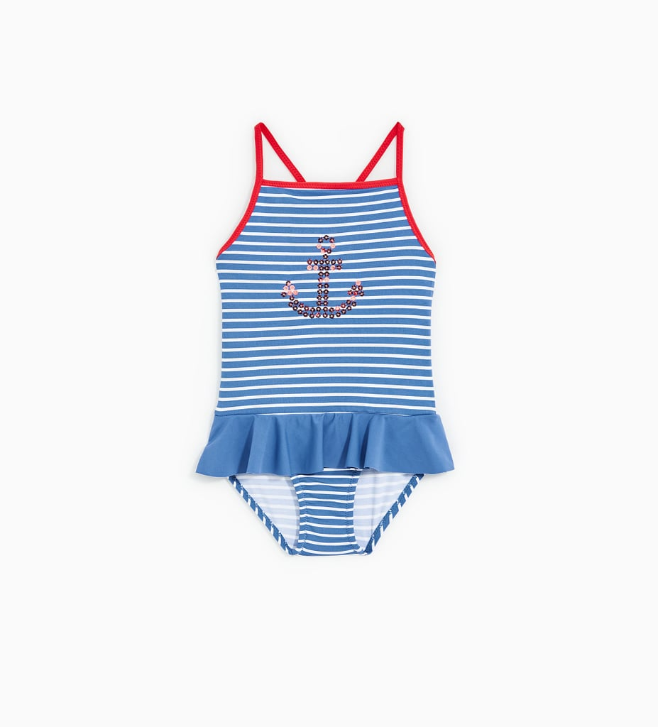 d327888035646 Zara Reversible Sequin Anchor Swimsuit | Kid Swimsuits on Sale ...