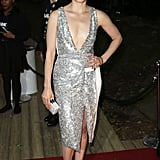 Taylor Schilling showed skin in a silver number.