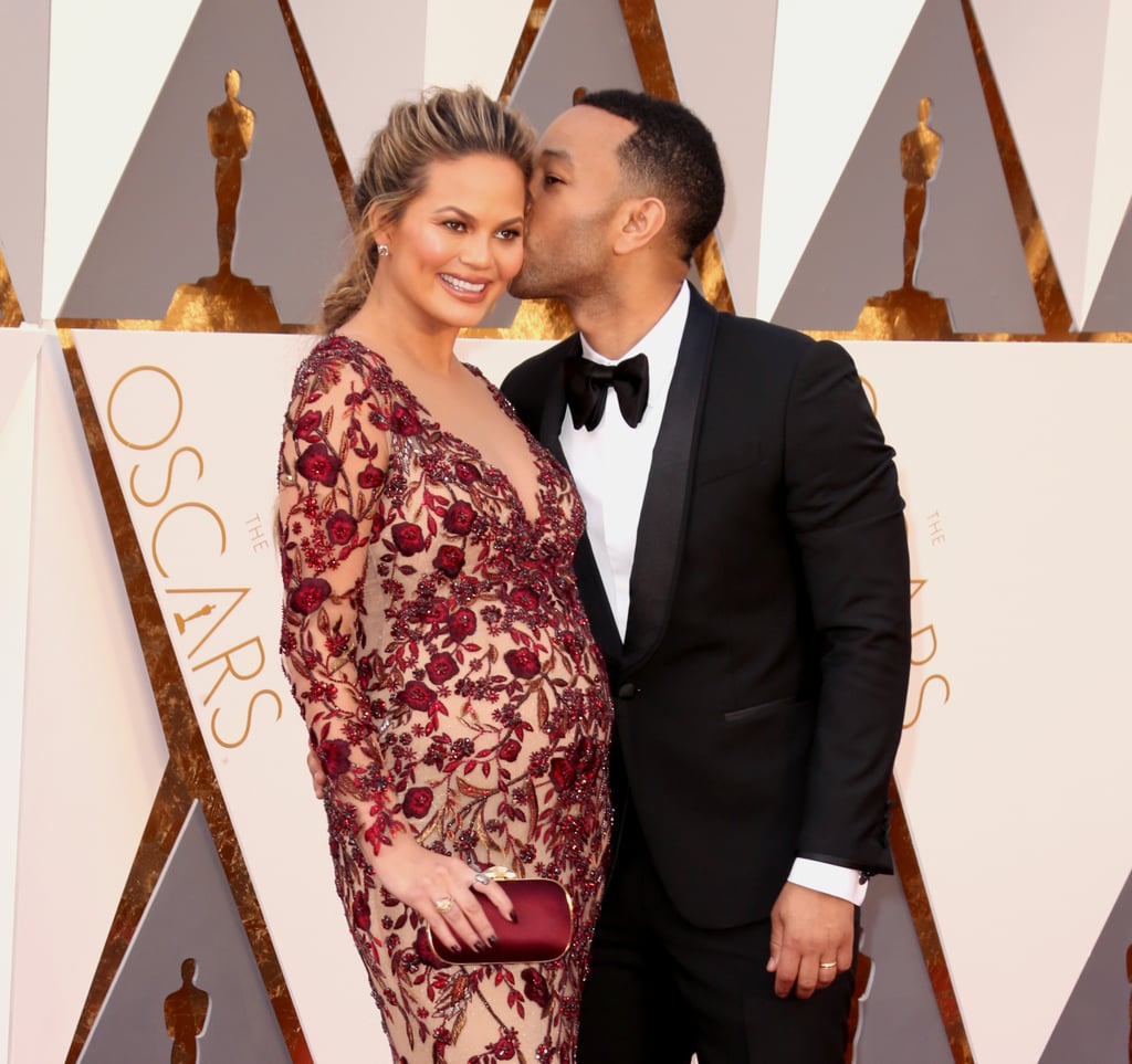 Chrissy Teigen, Emily Blunt, and More Rock Their Baby Bumps on the Oscars Red Carpet