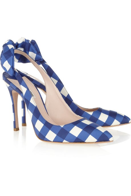 The cheeky gingham print makes these just a little whimsical — the kind of statement piece you'll keep for years.  Miu Miu Gingham Taffeta Slingbacks ($595)