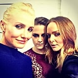 Stella McCartney posed with her Met Gala models, Cameron Diaz and Kristen Stewart, at the annual event back in May. Source: Instagram user stellamccartney