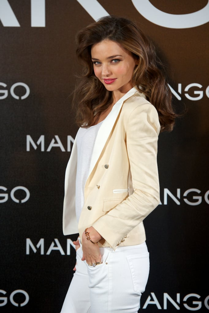 Miranda Kerr posed for photographers in Madrid.