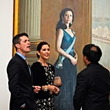 Frederik and Mary admired a portrait of Mary painted by artist Jiawei Shen in Canberra in Nov. 2011.