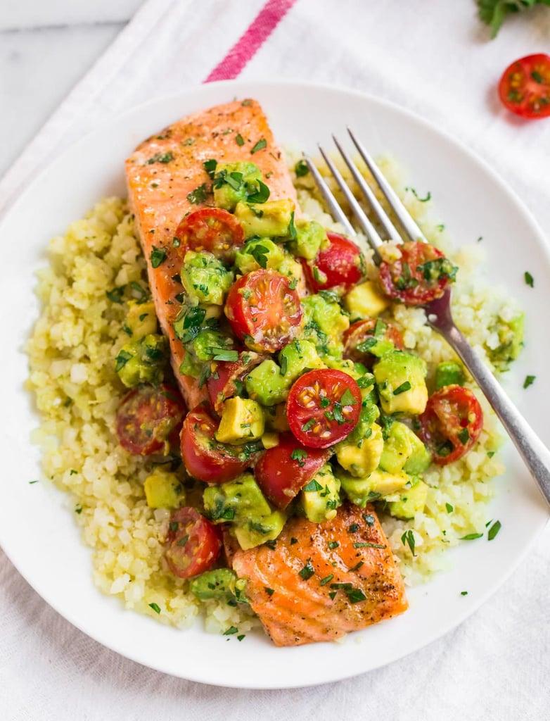 Salmon With Cauliflower Rice and Avocado Salsa