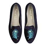 French Sole Velvet Peacock Slippers