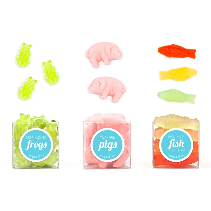 "When it comes to candy and breakups, nothing beats this fun Love Bites gift set ($25) full of gummies like ""Plenty of Fish in the Sea"" and ""Men Are Pigs."""
