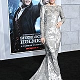Rachel chose a silver metallic Marchesa gown for the Sherlock Holmes: A Game of Shadows premiere.