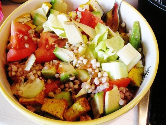 Baked Tofu and Buckwheat Spring Salad