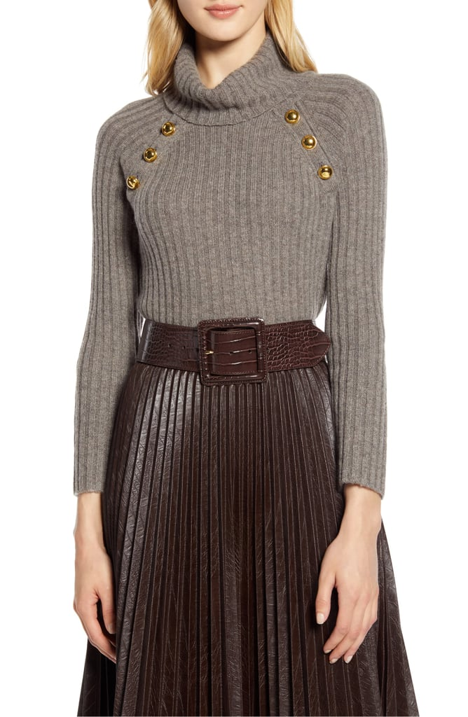 Halogen x Atlantic-Pacific Button Detail Turtleneck Sweater