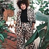 A Leopard Pantsuit Over a Crisp Black Turtleneck