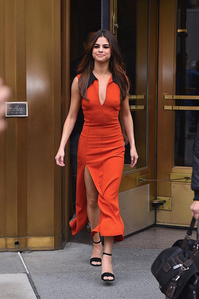 Skintight Orange Dress