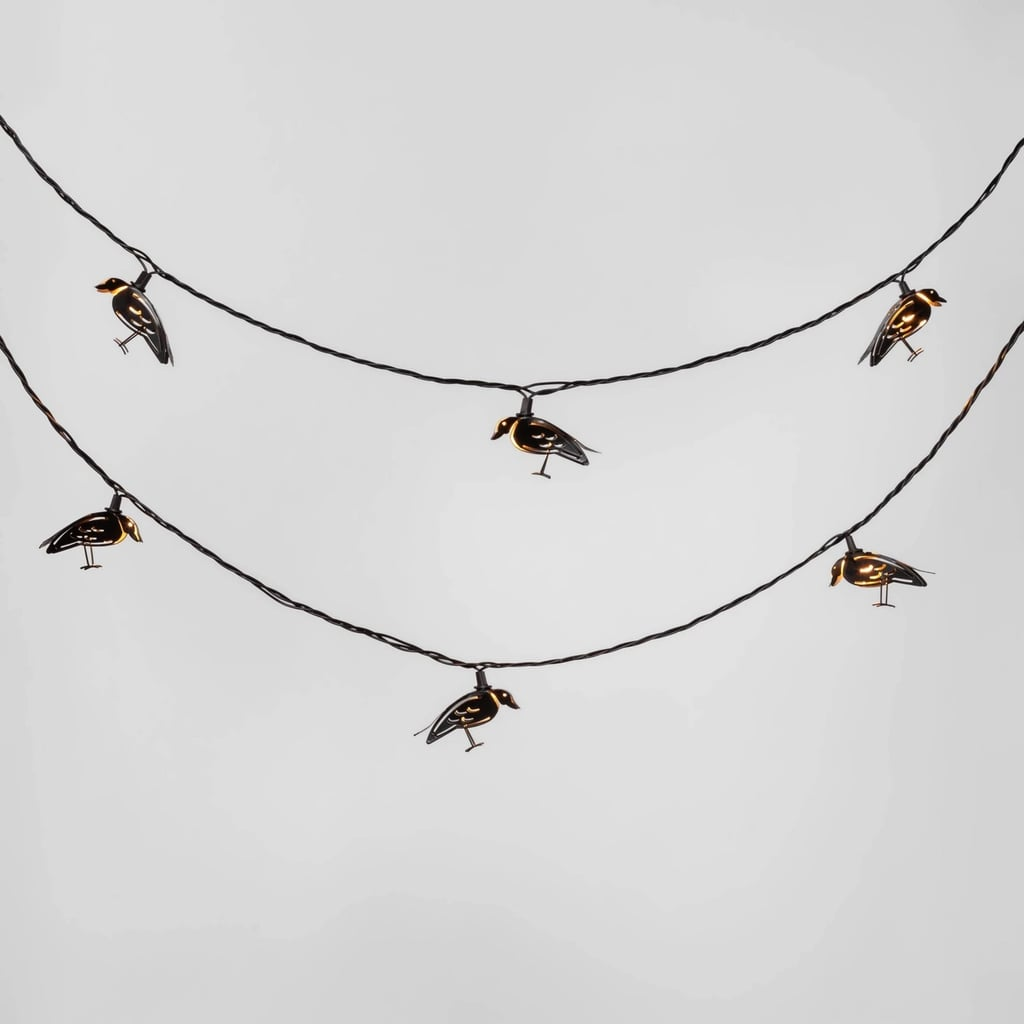 Metal Crow Halloween String Lights