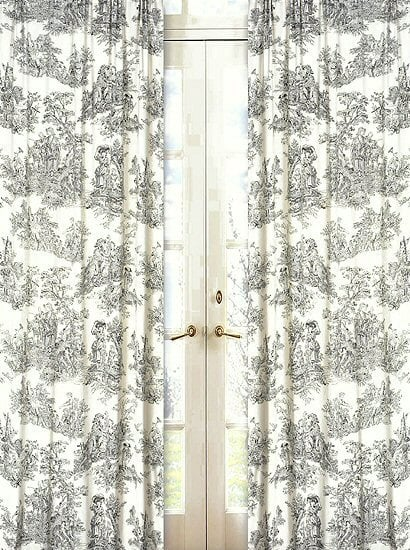 Black & Off-White French Toile Curtains Window Drapes ($45)