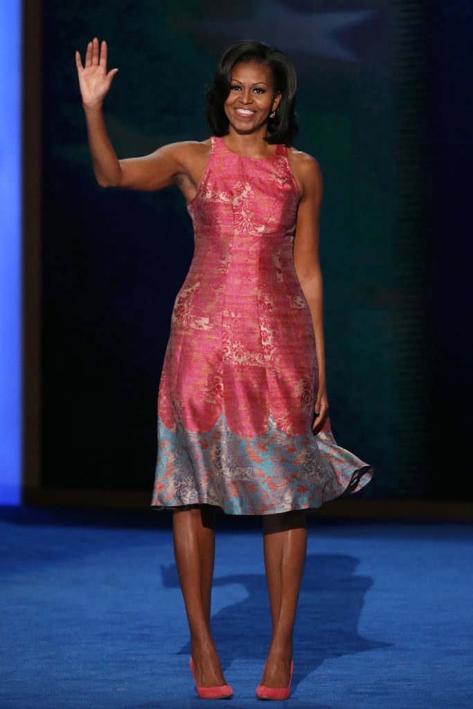 She stole the show — with her speech and her style — on day one of the DNC, and we're pretty sure this pink and gold toile Tracy Reese dress and J.Crew pumps combo helped to keep all eyes on her.