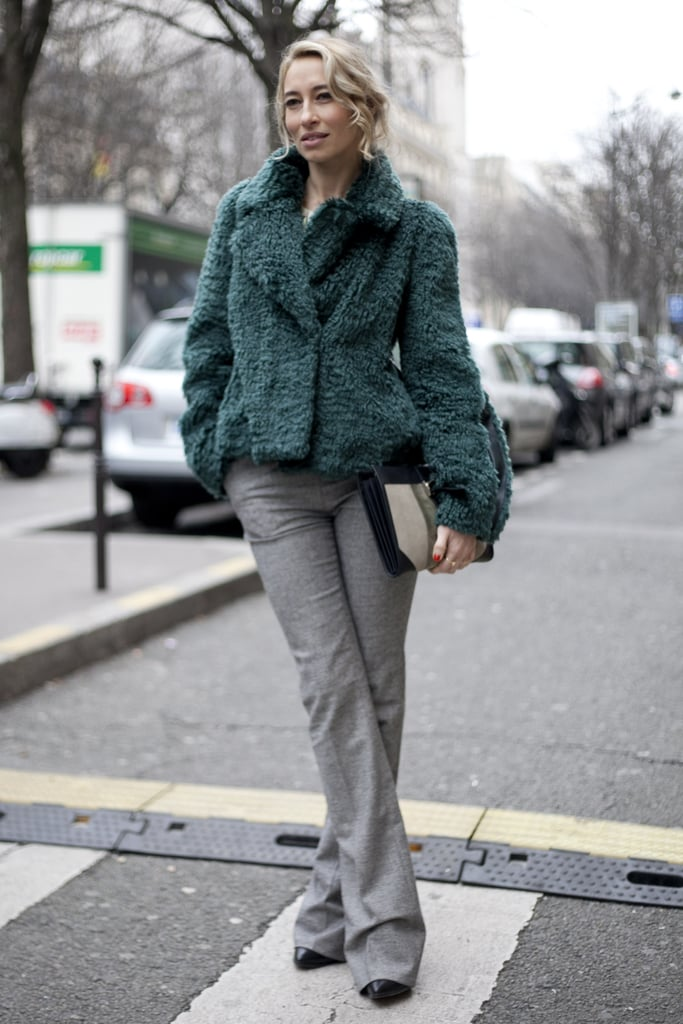 We love the way the soft-green hues played off this attendee's flared gray trousers.