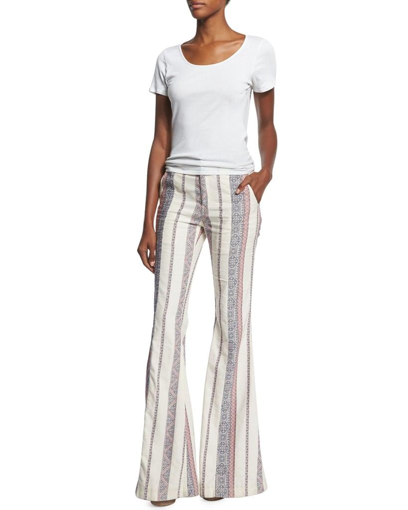 Derek Lam 10 Crosby Striped Cotton/Linen Flare-Leg Pants($495)