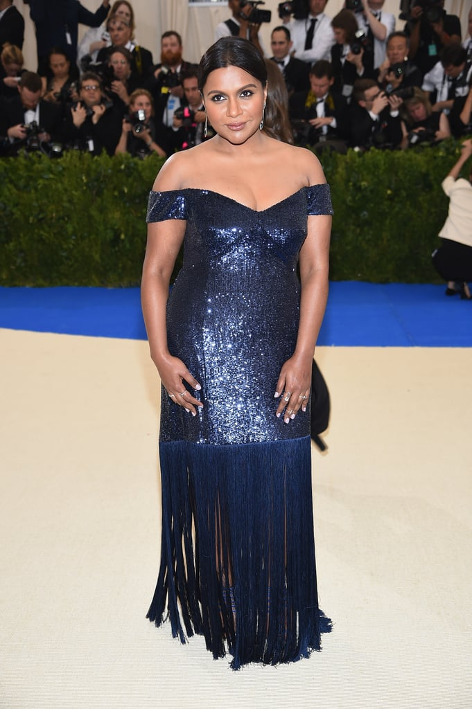 Mindy wore navy Prabal Gurung sequins and Monique Péan and Jacob & Co. jewels to the Met Gala in 2017.