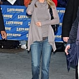 Jen Wore a Taupe Wrap Sweater With Her Jeans and Booties