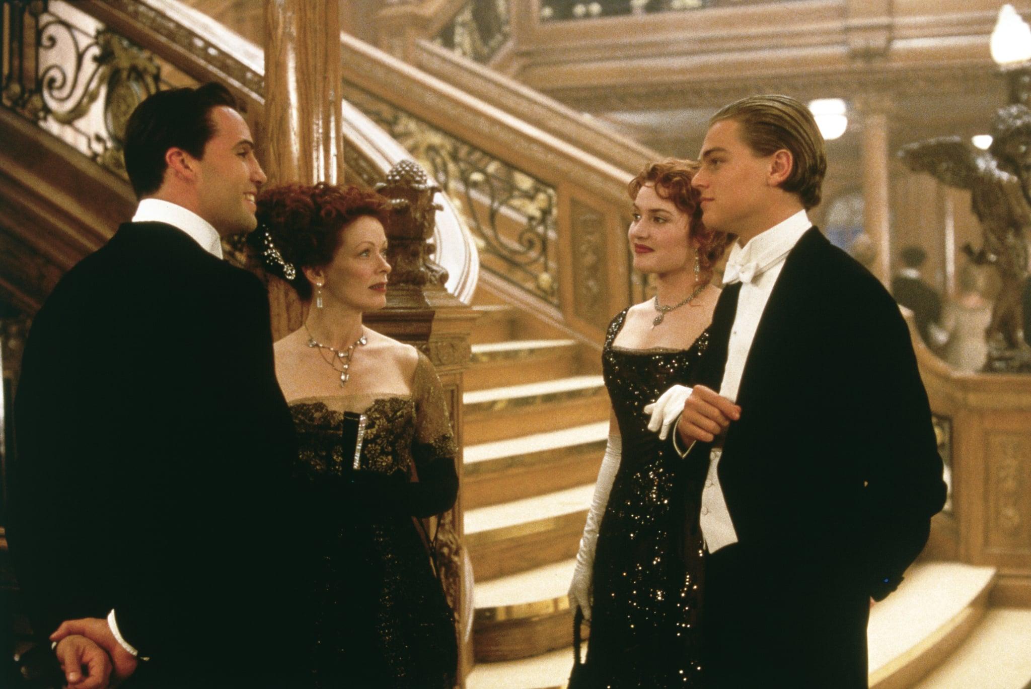 Billy Zane, Frances Fisher, Kate Winslet, and Leonardo DiCaprio in Titanic.