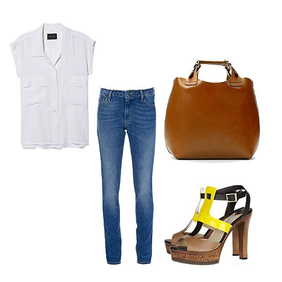 Avoid coupling your basic skinny jeans with a basic tee — the look will feel, well, basic. Instead, add in a silky button-up and a cool pair of heels with a fun pop of color to change up your tired-denim routine. Get the Look:  Acne Skinny Jean ($281) Rachel Comey Brewster Top ($334) Jimmy Choo Samos Leather and Wood Platform Sandals ($875) Zara Plaited Leather Shopper ($149)