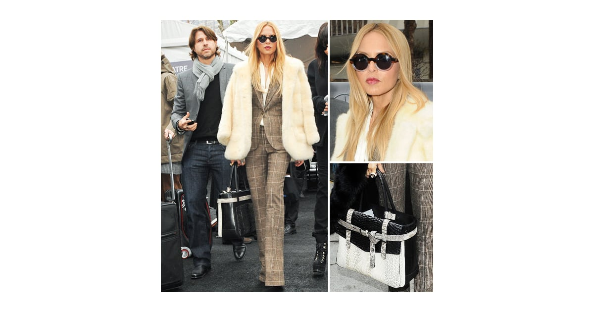 Rachel Zoe In Plaid Suit At New York Fashion Week