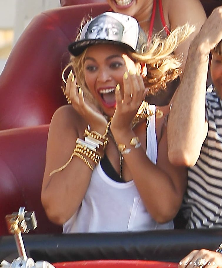 Beyonce rode a roller coaster.