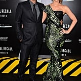 Kate Beckinsale posed with husband Len Wiseman at the Total Recall premiere in LA.