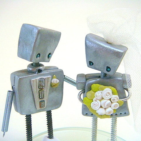 Robot Wedding Cake Toppers