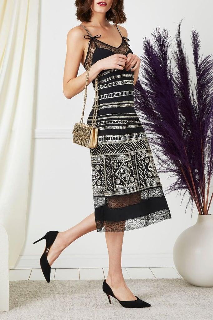 Vintage Christian Dior Black Beaded Assuit Silk Dress